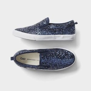 New!! Gap Kids - Navy Glitter Slip On Sneakers